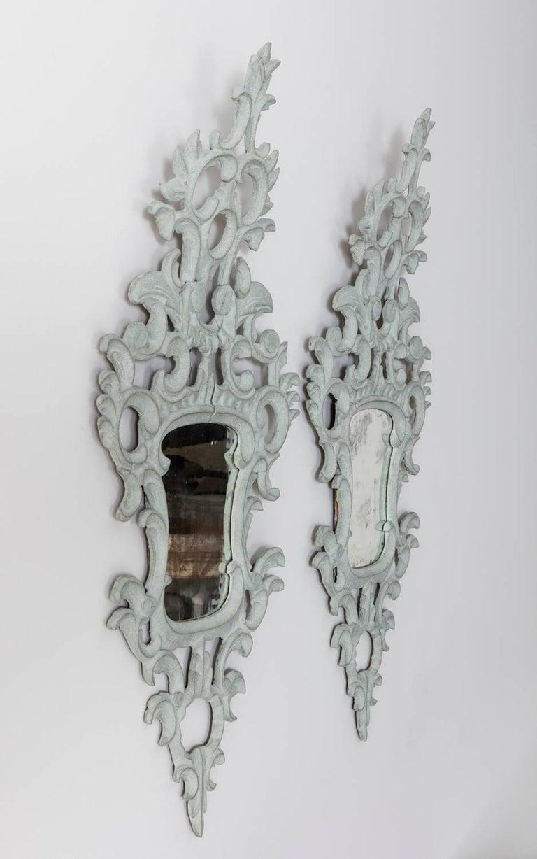19th Century Pair of Venetian Mirrors Appliqués with Original Mirror Plate   For Sale 1