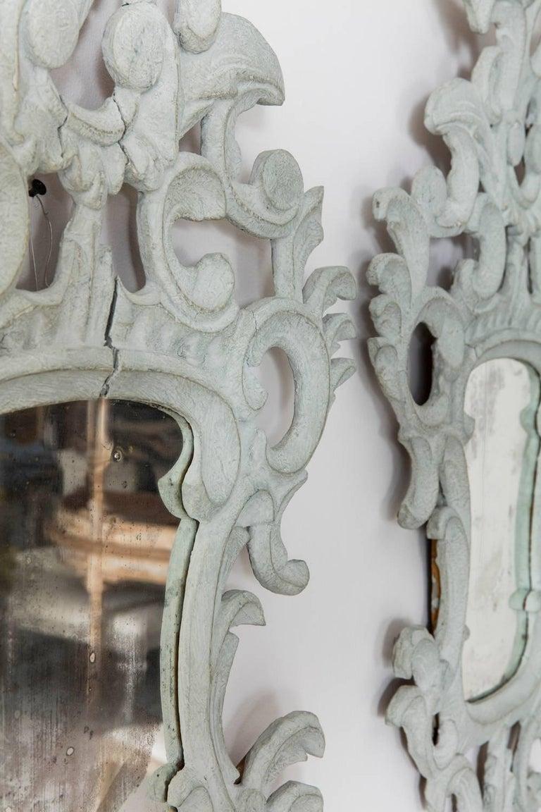 19th Century Pair of Venetian Mirrors Appliqués with Original Mirror Plate   For Sale 2