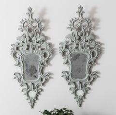 19th Century Pair of Italian Original Mirror Plate Painted Venetian Appliqués