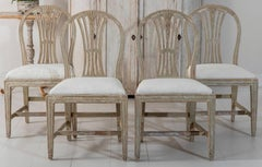 18th Century Swedish Period Gustavian Oval Back Side Chairs in Original Paint