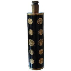 "Piero Fornasetti Black and Gold ""Cameo"" Midcentury Italian Table Lamp"