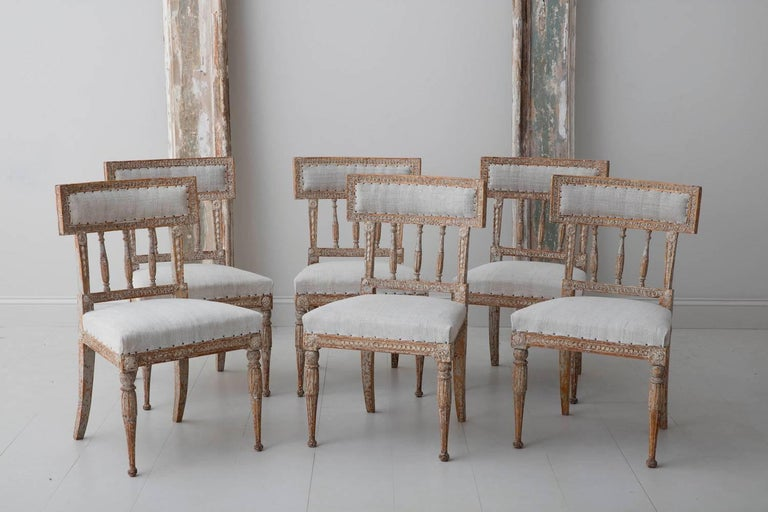 19th Century Set of Six Swedish Gustavian Period Chairs in Original Paint For Sale 3