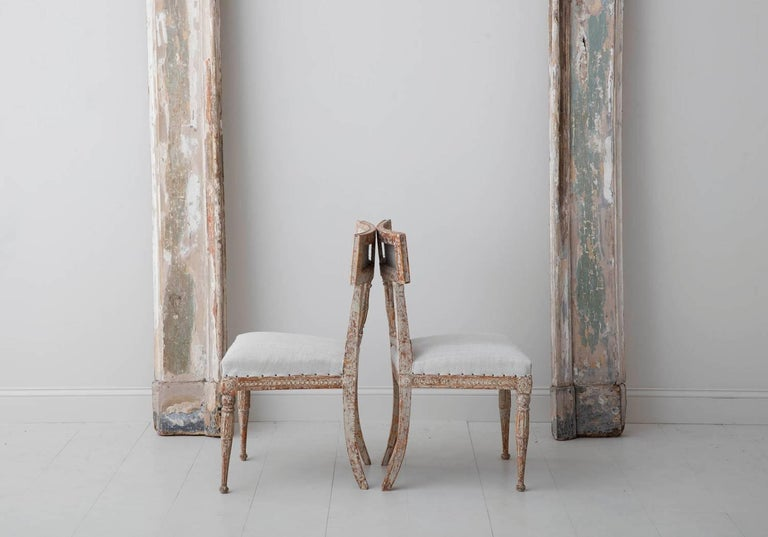 19th Century Set of Six Swedish Gustavian Period Chairs in Original Paint For Sale 6