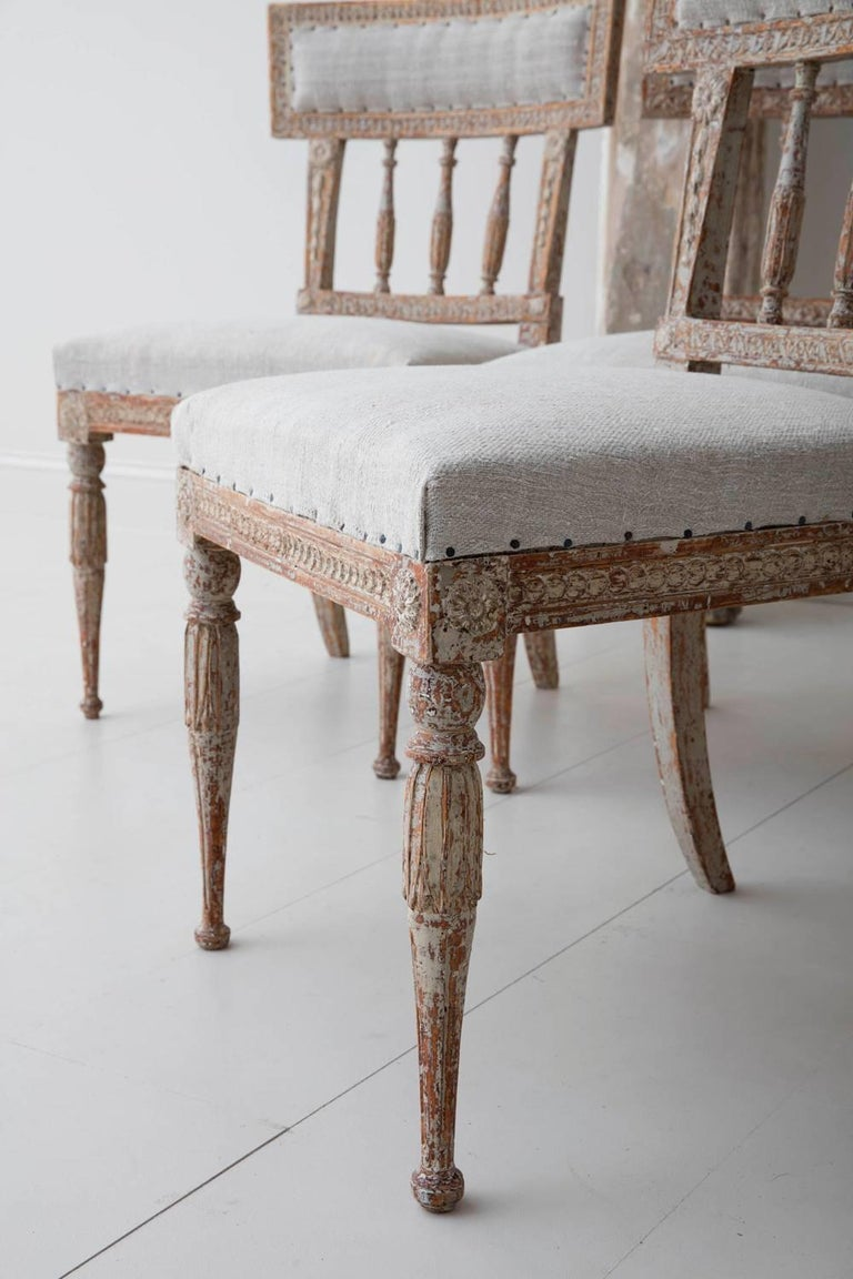 19th Century Set of Six Swedish Gustavian Period Chairs in Original Paint For Sale 2