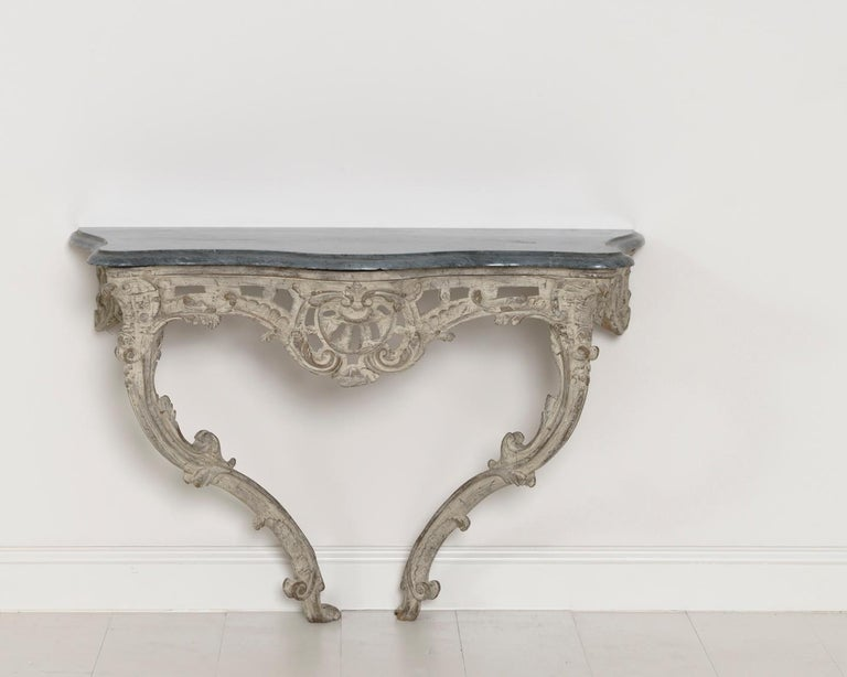 18th Century French Louis XV Period Console Table with Blue Turquin Marble Top For Sale 12