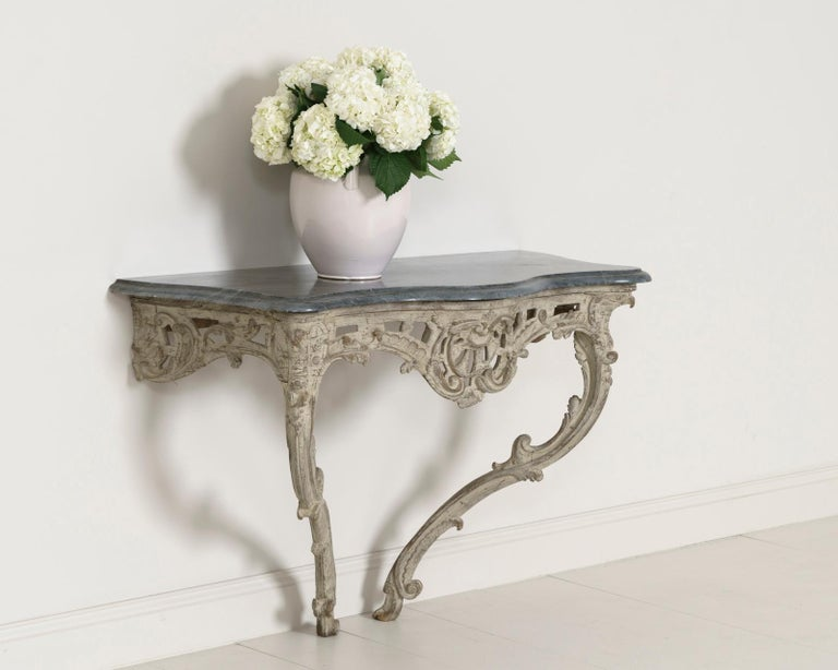 18th Century French Louis XV Period Console Table with Blue Turquin Marble Top For Sale 9