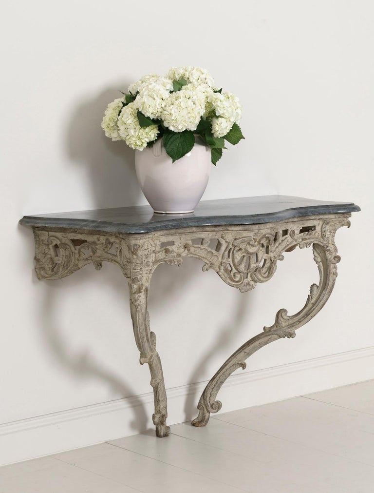 Hand-Carved 18th Century French Louis XV Period Console Table with Blue Turquin Marble Top For Sale