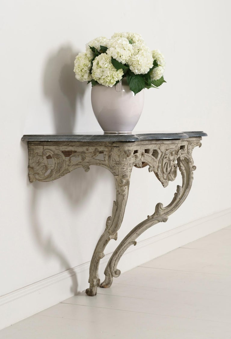 18th Century French Louis XV Period Console Table with Blue Turquin Marble Top For Sale 10