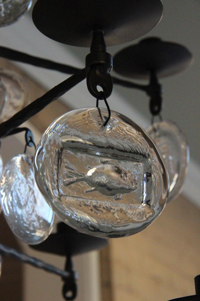 Blown Glass Mid-Century Modern Twelve-Arm Chandelier by Erik Höglund For Sale