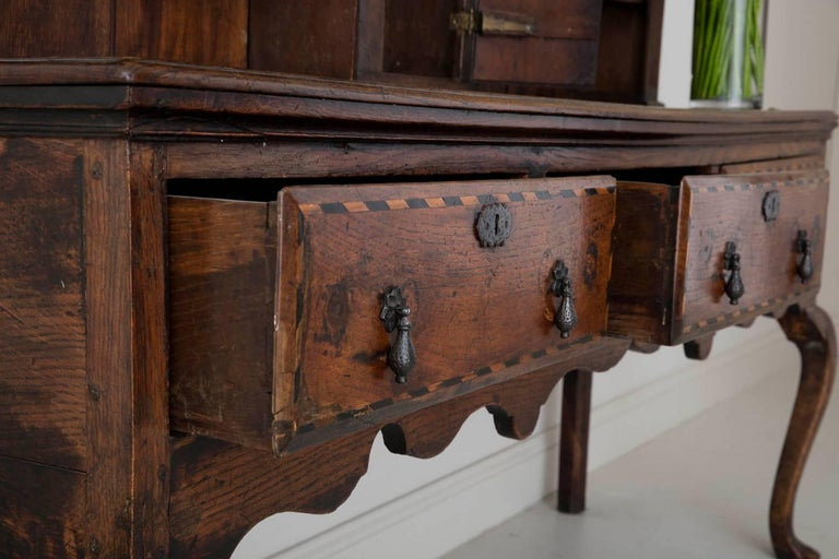 18th Century English Georgian Hutch, Welsh Dresser in Two Parts For Sale 5