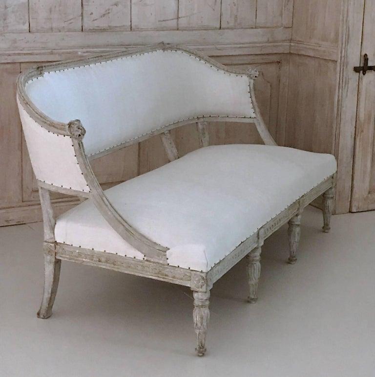 Hand-Carved 19th Century Swedish Gustavian Barrel Back Sofa Settee For Sale