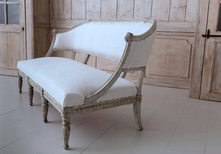 Linen 19th Century Swedish Gustavian Barrel Back Sofa Settee For Sale