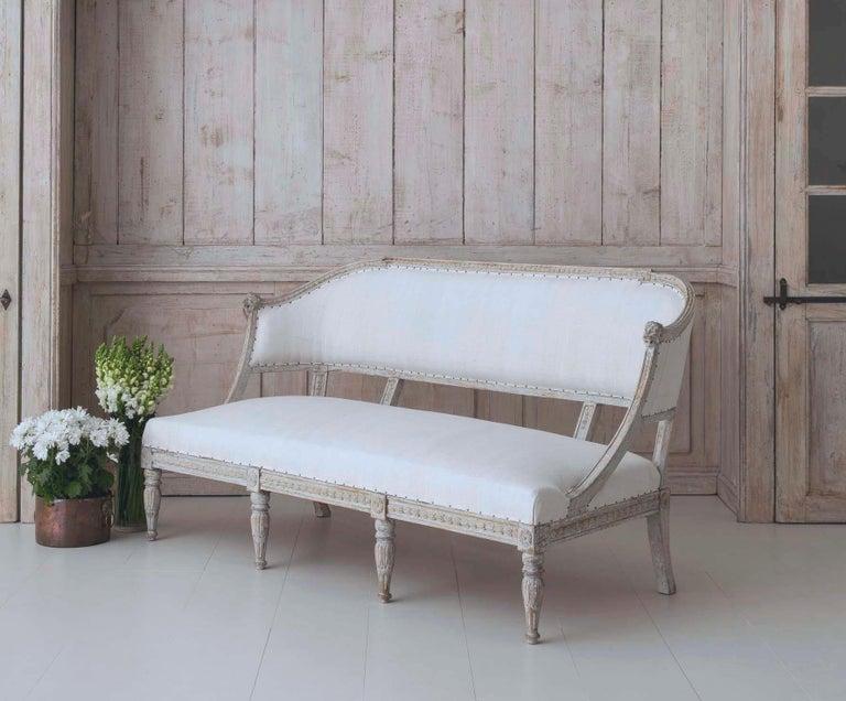 Wood 19th Century Swedish Gustavian Barrel Back Sofa Settee For Sale