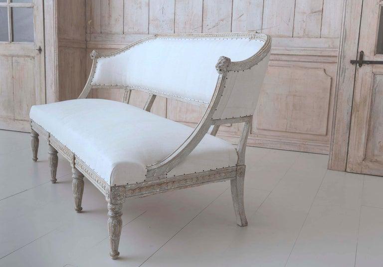 19th Century Swedish Gustavian Barrel Back Sofa Settee For Sale 1