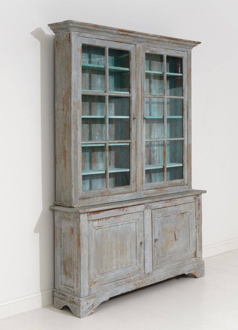 19th Century French Provençal Louis Philippe Style Painted Buffet Deux Corps For Sale 1