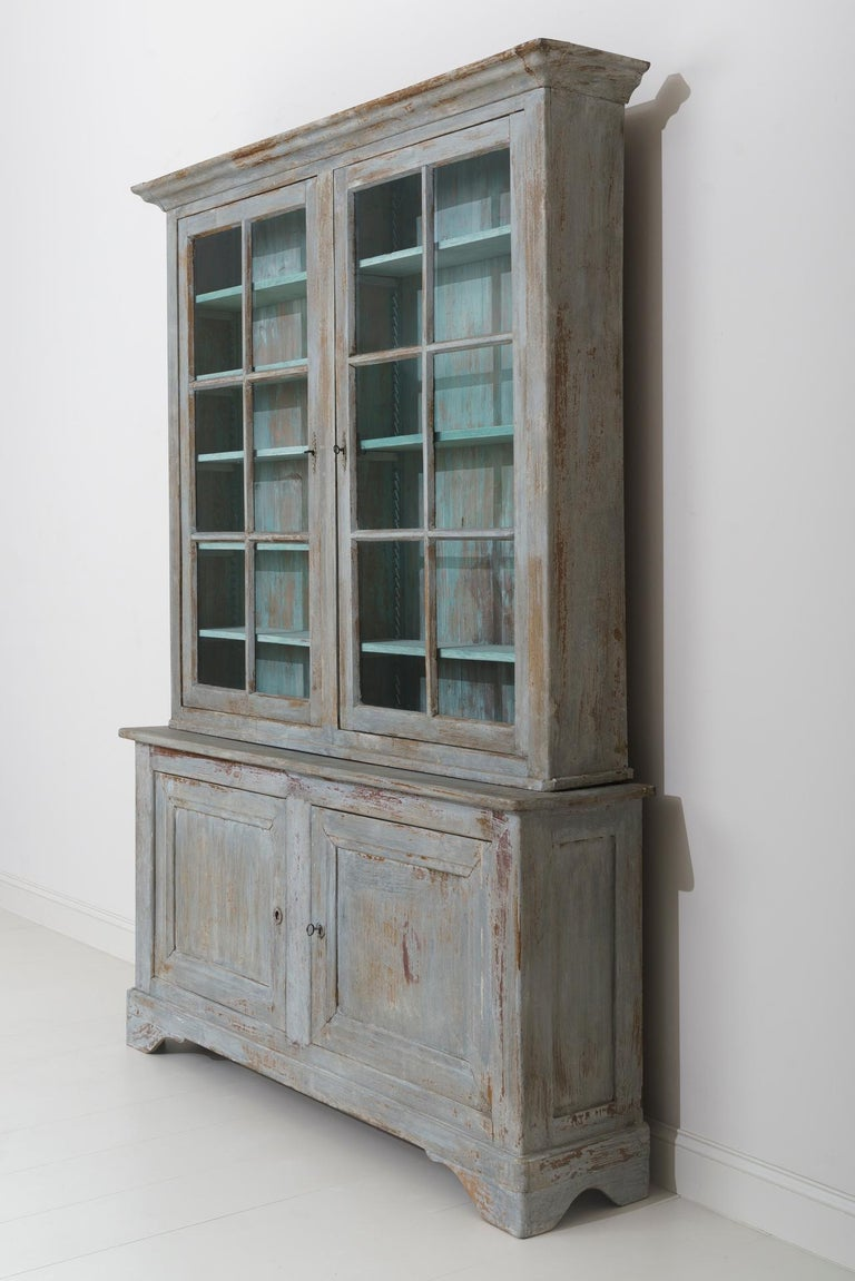 19th Century French Provençal Louis Philippe Style Painted Buffet Deux Corps For Sale 5