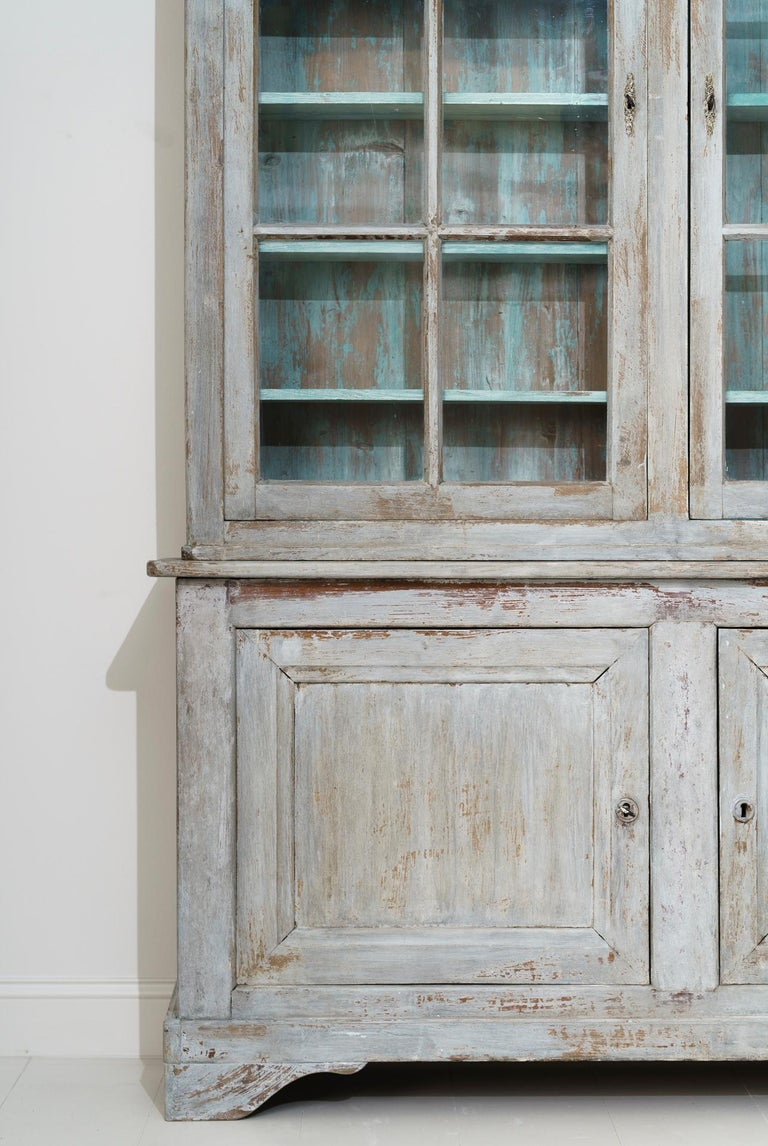 19th Century French Provençal Louis Philippe Style Painted Buffet Deux Corps For Sale 4