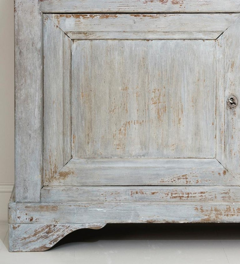 Pine 19th Century French Provençal Louis Philippe Style Painted Buffet Deux Corps For Sale