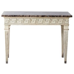 French Louis XVI Style Console Table with Greek Key Design and Marble Top