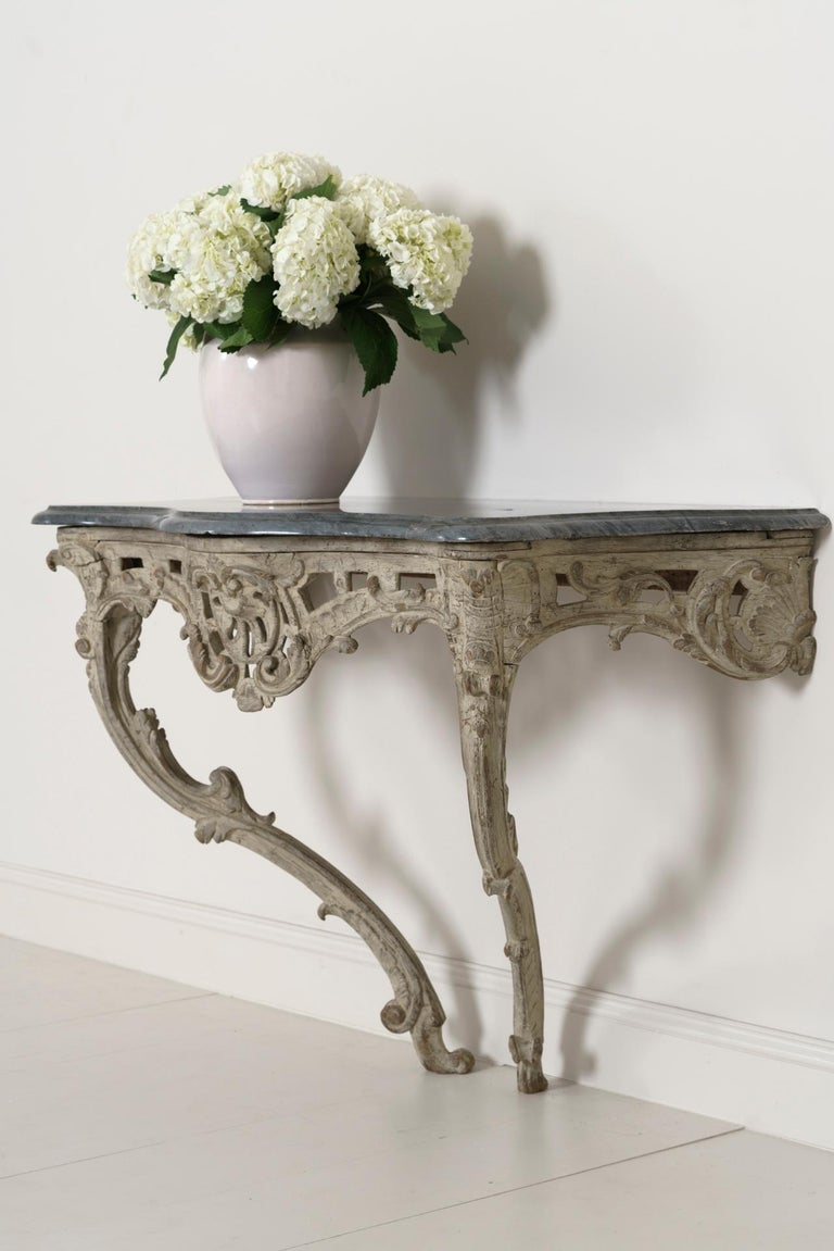 18th Century French Louis XV Period Console Table with Blue Turquin Marble Top For Sale 11