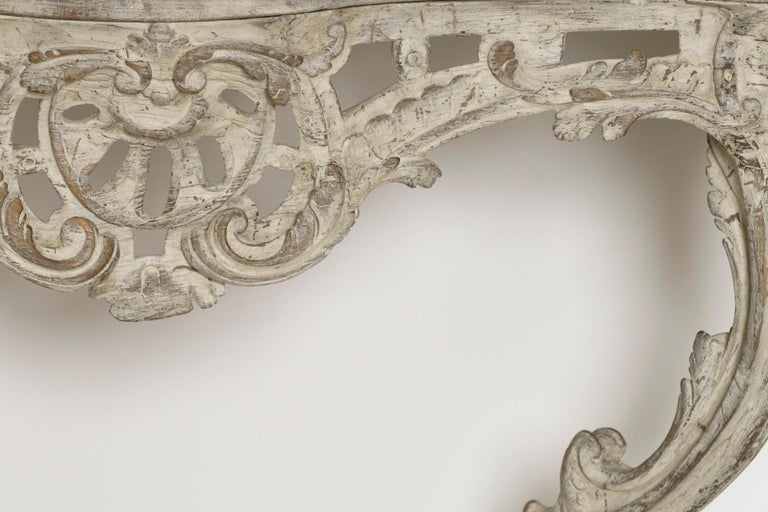 18th Century French Louis XV Period Console Table with Blue Turquin Marble Top For Sale 1