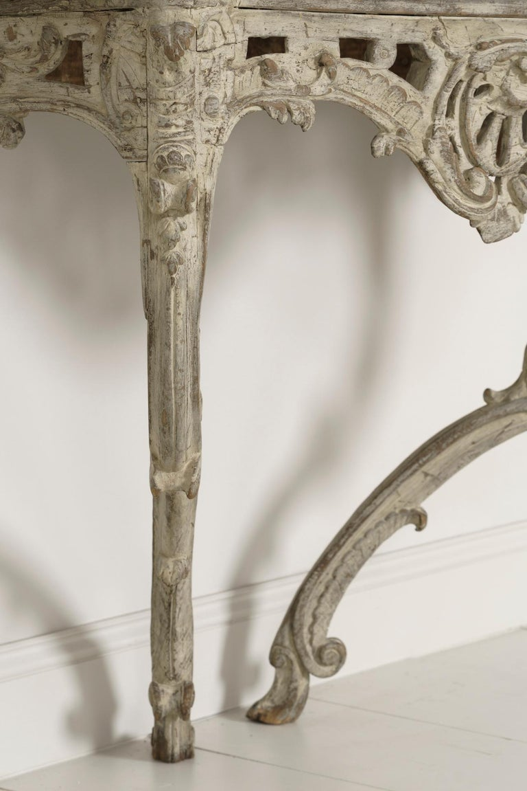 18th Century French Louis XV Period Console Table with Blue Turquin Marble Top For Sale 6