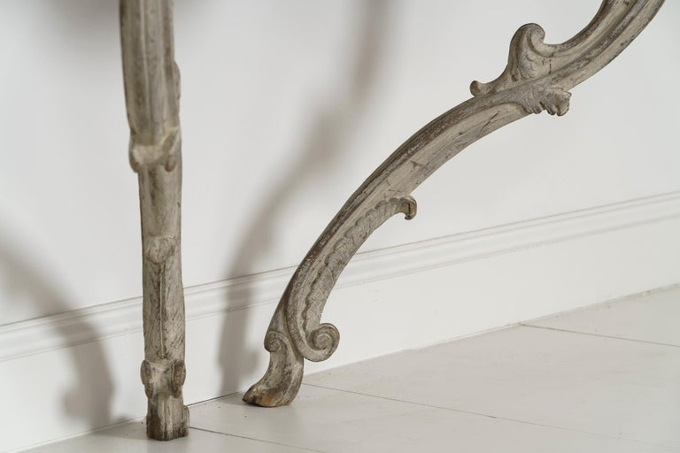 18th Century French Louis XV Period Console Table with Blue Turquin Marble Top For Sale 7
