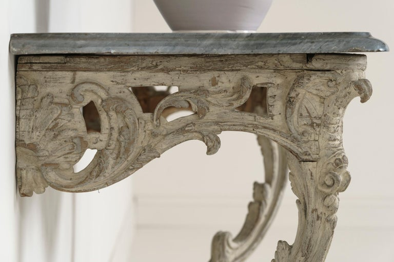 18th Century French Louis XV Period Console Table with Blue Turquin Marble Top For Sale 4