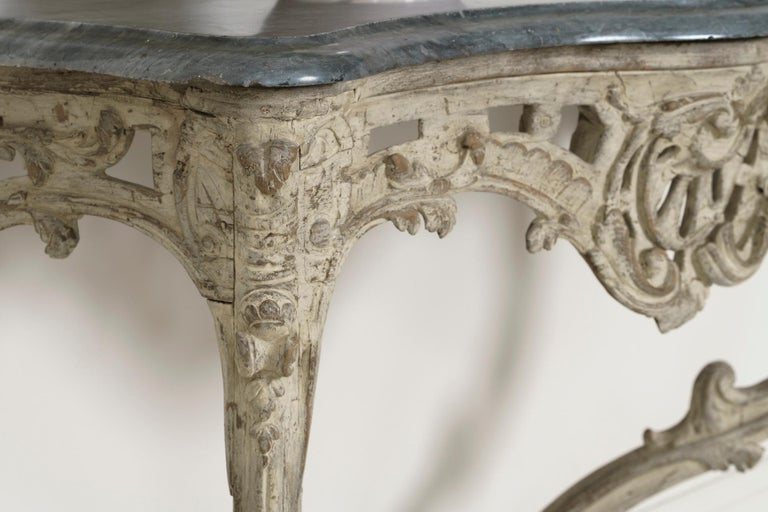 18th Century French Louis XV Period Console Table with Blue Turquin Marble Top For Sale 2