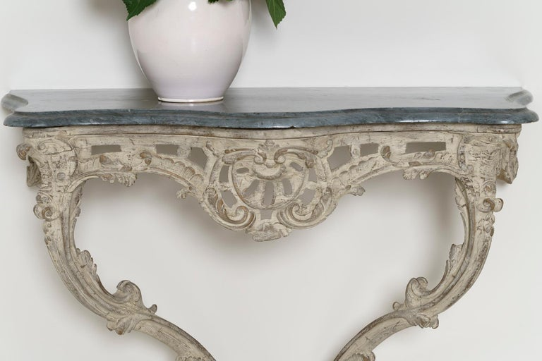 18th Century French Louis XV Period Console Table with Blue Turquin Marble Top In Excellent Condition For Sale In Wichita, KS