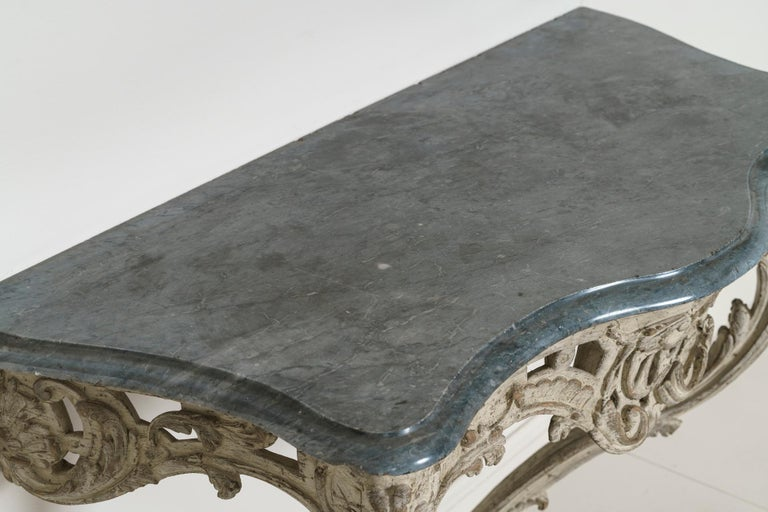 18th Century French Louis XV Period Console Table with Blue Turquin Marble Top For Sale 8