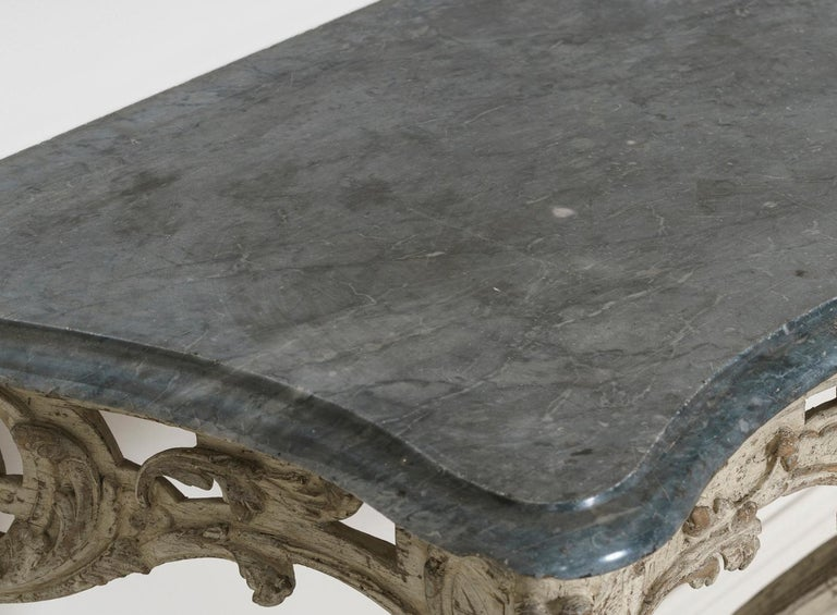 18th Century French Louis XV Period Console Table with Blue Turquin Marble Top For Sale 3