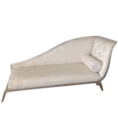 French Art Deco Style Recamier Daybed with Sleigh Back in Silver Gilt