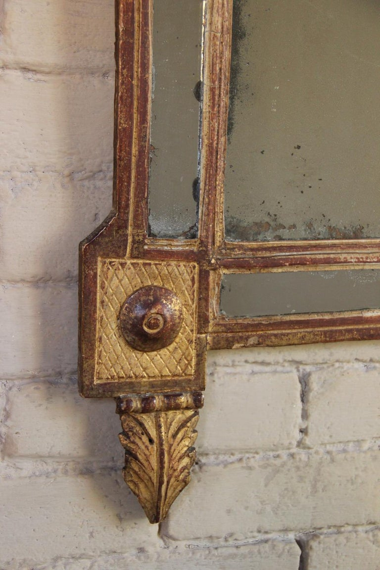 18th Century French Louis XVI Period Richly Carved Giltwood Mirror For Sale 5