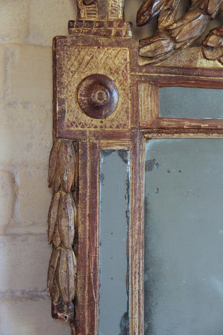 18th Century French Louis XVI Period Richly Carved Giltwood Mirror For Sale 2