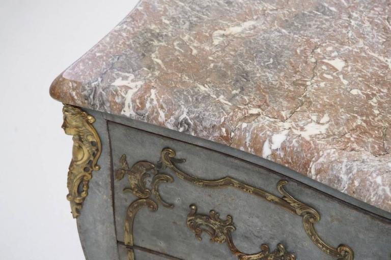 French Louis XV Shaped Commode with Gilded Mounts and Marble Top, 19th Century In Excellent Condition For Sale In Wichita, KS