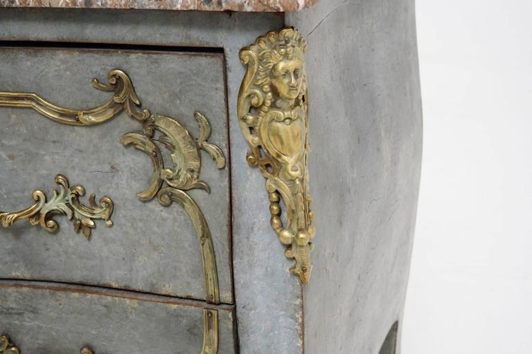 Bronze French Louis XV Shaped Commode with Gilded Mounts and Marble Top, 19th Century For Sale