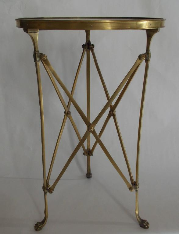 20th Century Pair of French Brass Neoclassical Gueridon Tables in the Jansen Manner For Sale