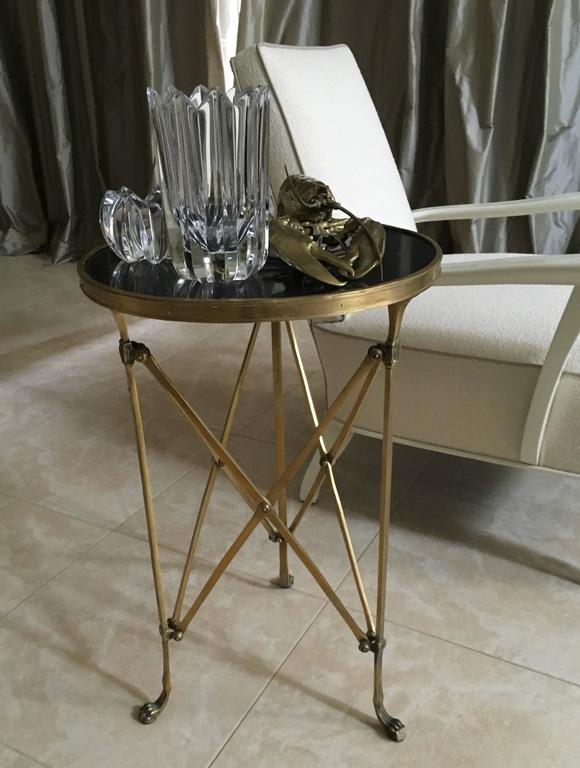 Pair of French Brass Neoclassical Gueridon Tables in the Jansen Manner For Sale 3