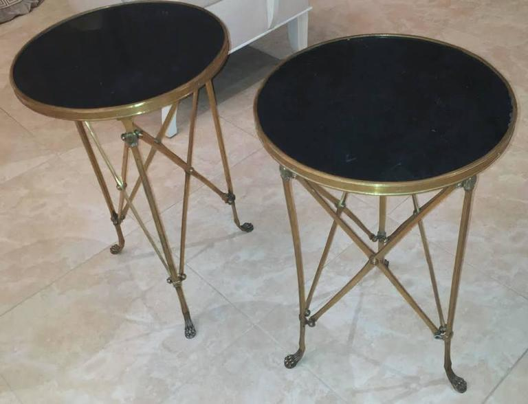 Pair of French Brass Neoclassical Gueridon Tables in the Jansen Manner For Sale 4