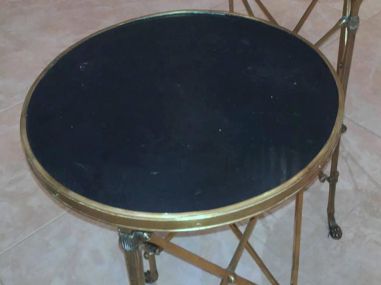 Pair of French Brass Neoclassical Gueridon Tables in the Jansen Manner For Sale 5