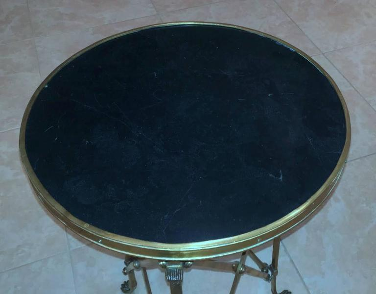 Pair of French Brass Neoclassical Gueridon Tables in the Jansen Manner For Sale 6