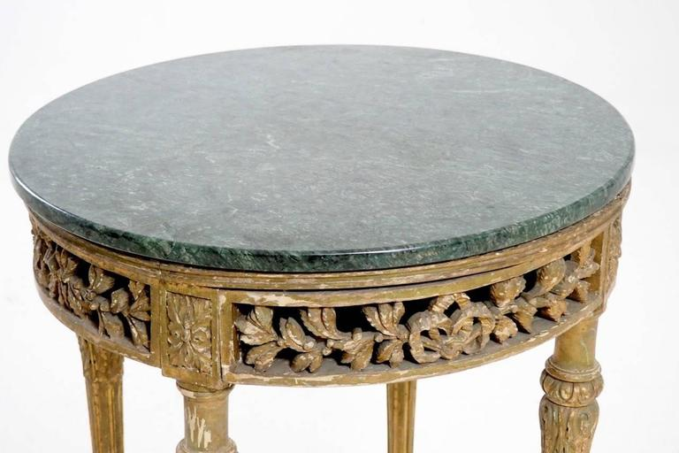 19th Century Italian Round Side Table With Marble Top And