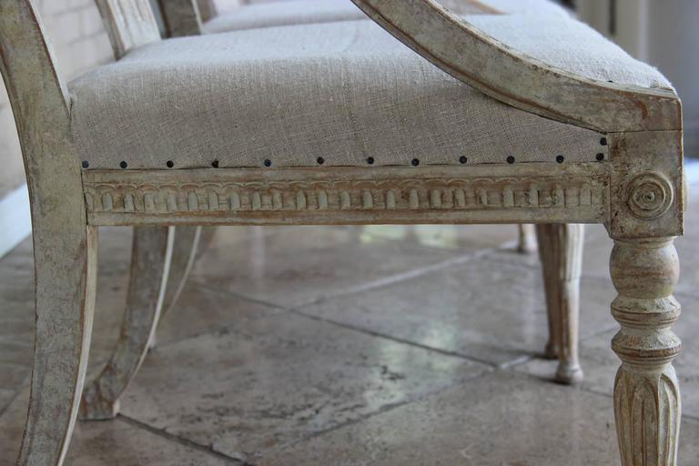 19th Century Pair Swedish Gustavian Original Paint Barrel Back Armchairs with Lions' Heads  For Sale