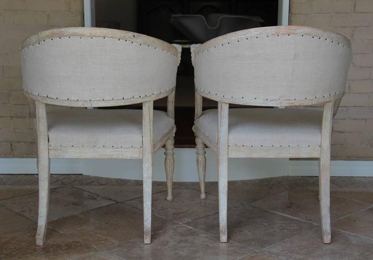 Pair Swedish Gustavian Original Paint Barrel Back Armchairs with Lions' Heads  For Sale 2