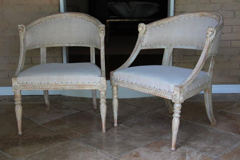 Linen Pair Swedish Gustavian Original Paint Barrel Back Armchairs with Lions' Heads  For Sale