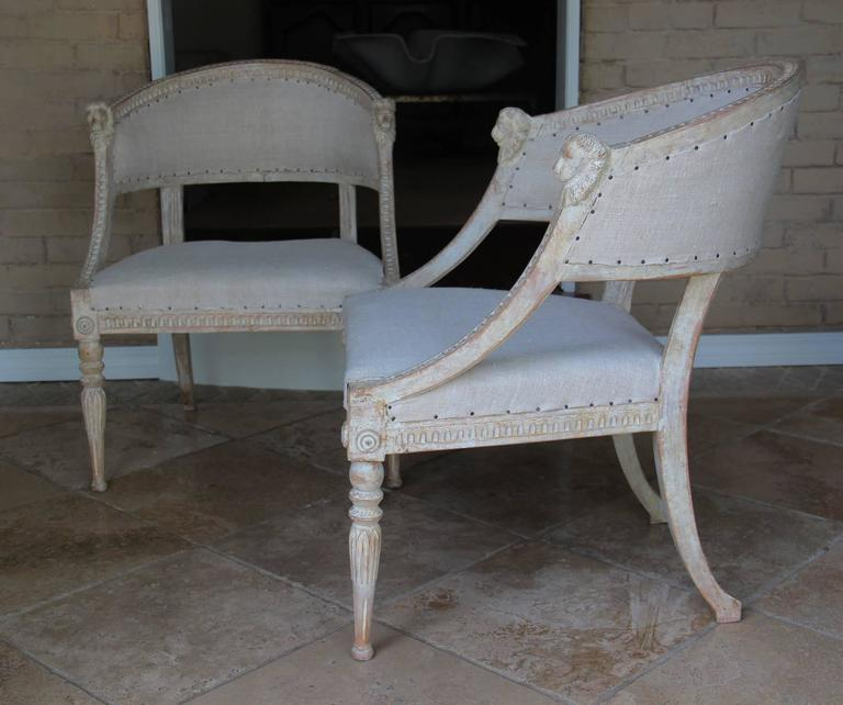Pair Swedish Gustavian Original Paint Barrel Back Armchairs with Lions' Heads  For Sale 1