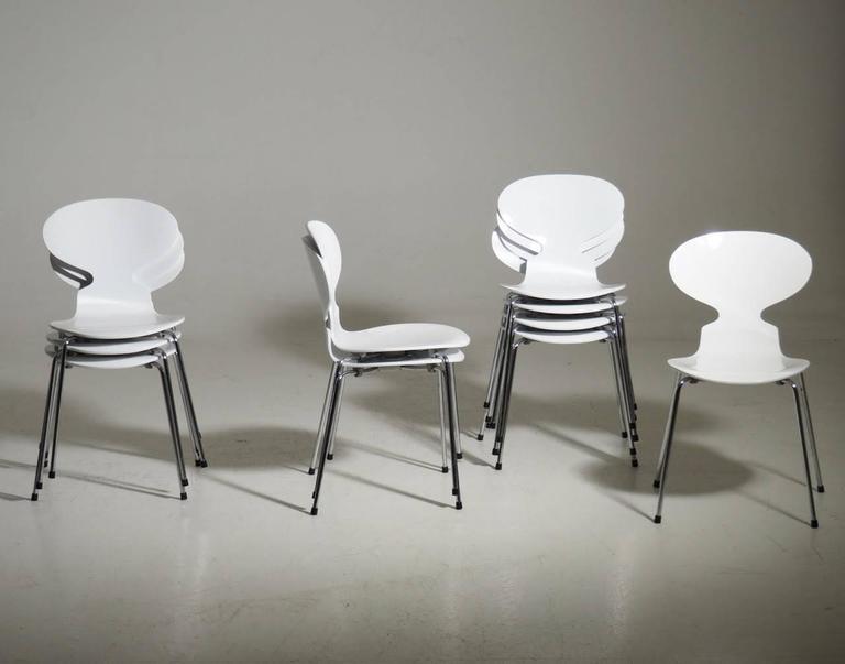 Arne Jacobsen Designed Set of Ten White Danish Modern Ant Chairs, 1976-86 2
