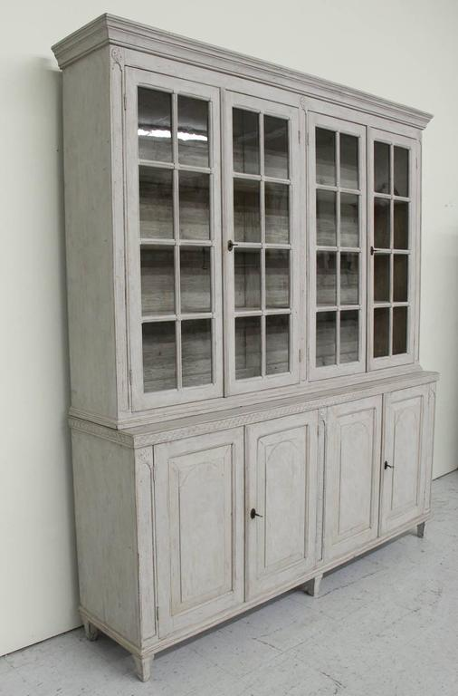 Swedish Late Gustavian Antique Four-Door Glass Vitrine Cabinet, 19th Century 8