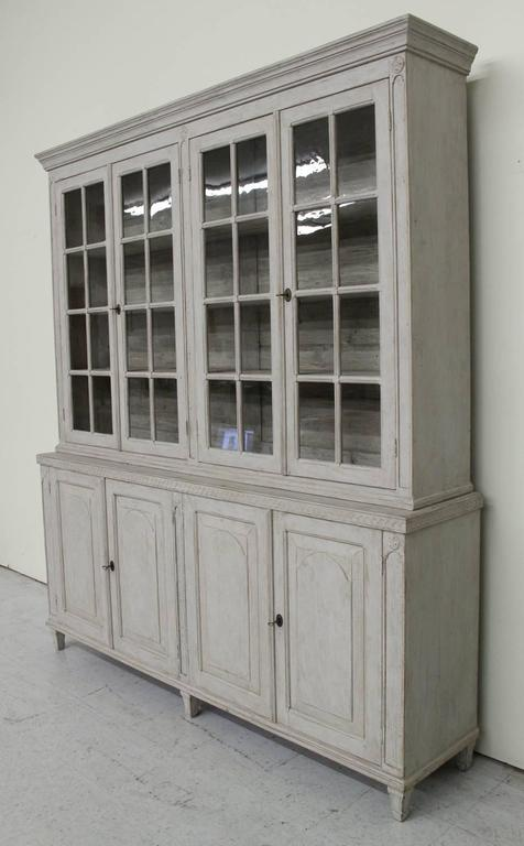 Swedish Late Gustavian Antique Four-Door Glass Vitrine Cabinet, 19th Century 7